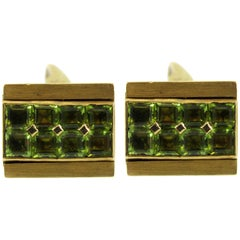 Peridot Yellow Gold Reversible Cufflinks