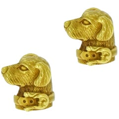 1989 Barry Kieselstein Cord Labrador Retriever Yellow Gold Earrings