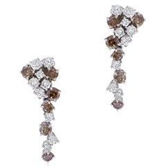 White and Cognac Diamonds White Gold Drop Earrings