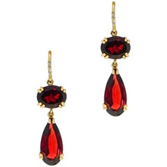 Garnet and Diamond Drop Yellow Gold Earrings