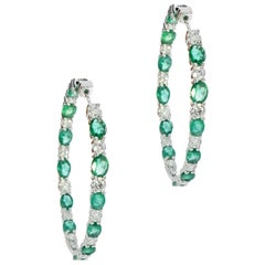 Emerald and Diamond White Gold In/Out Hoop Earrings