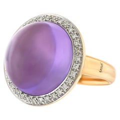 Mimi Milano 16 Carat Amethyst and Diamond Set Gold Ring