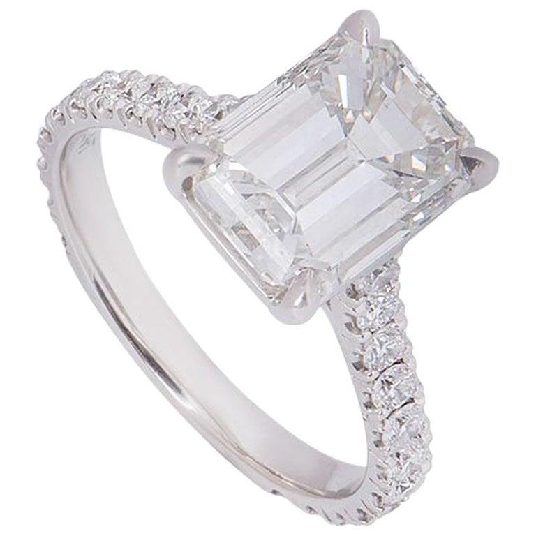 GIA Certified Platinum Emerald Cut Diamond Engagement Ring 3.02 Carat