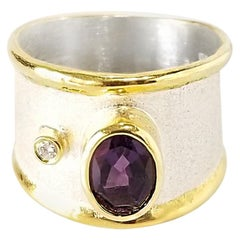 Yianni Creations 1.25 Carat Amethyst and Diamond Fine Silver 24 Karat Gold Ring