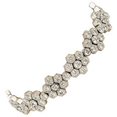 Diamond 7.41 Carat Total Weight Art Deco Style Tennis Bracelet 18 Karat