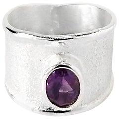 Yianni Creations 1.25 Carat Amethyst Fine Silver and Palladium Ring