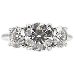 GIA Certified Three-Stone Diamond Platinum Engagement Ring