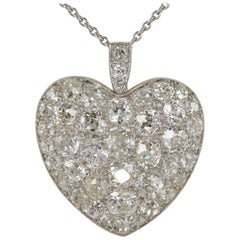Platinum Edwardian 6.0 Carat Mine Cut Diamond Rare Sentimental Heart Necklace