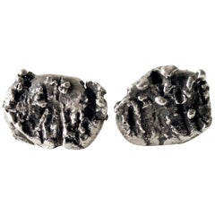 1960s Sterling Silver Abstract Brutalist Cufflinks