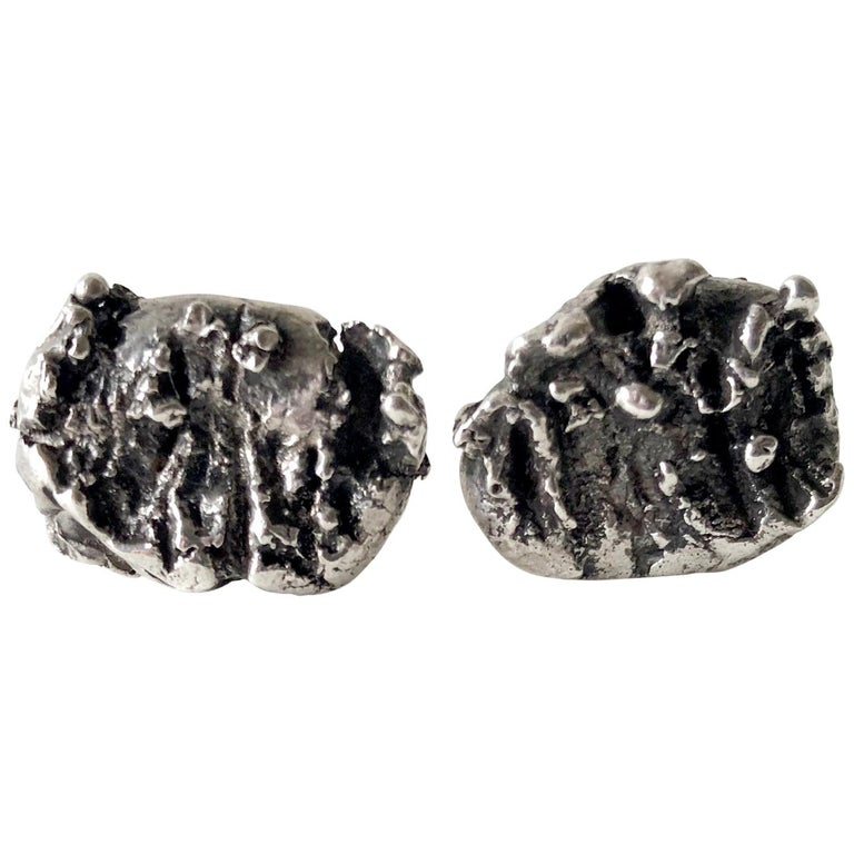 1960s Sterling Silver Abstract Brutalist Cufflinks For Sale