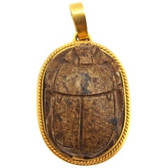 Egyptian Revival 18 Karat Gold Wood Scarab Pendant