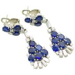 Gazdar Blue Sapphire and Diamond Chandelier Platinum Earrings