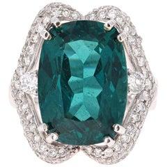 16.56 Carat Apatite Diamond 18 Karat White Gold Ring