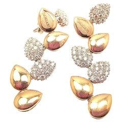 Damiani Antera Diamond Two-Color Gold Drop Earrings