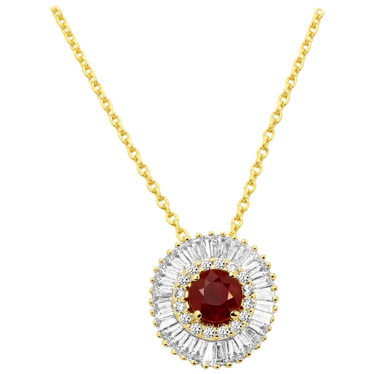 Ruby Round Diamond Double Halo Gold Ballerina Style Pendant Necklace