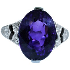 Antique Tiffany & Co. Engagement Ring Set with Amethyst, Onyx and Diamonds