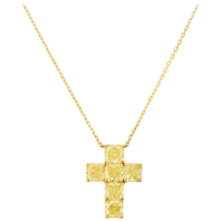 Fancy Yellow Diamond Cross Necklace, 6.42 Carat