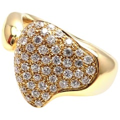 Tiffany & Co. Elsa Peretti Diamond Heart Yellow Gold Band Ring