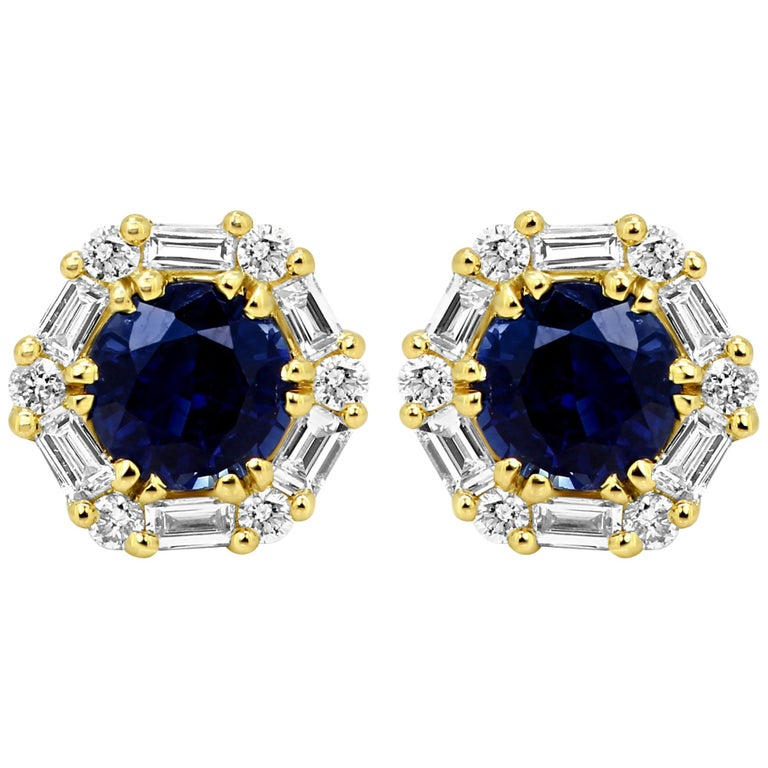 Blue Sapphire Round White Diamond Halo Gold Stud Earring