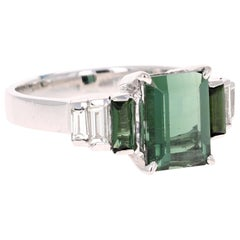 3.05 Carat Green Tourmaline Diamond 18 Karat White Gold Ring