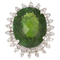 27.98 Carat Green Tourmaline Diamond 14 Karat White Gold Ballerina Ring