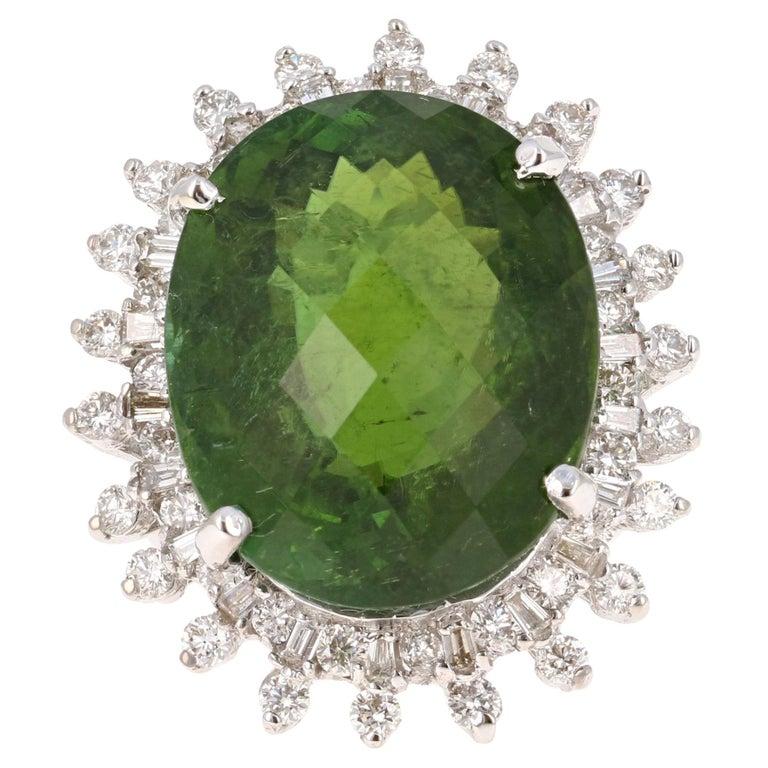 27.98 Carat Green Tourmaline Diamond 14 Karat White Gold Ballerina Ring