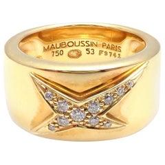 Mauboussin Diamond Celestial Star Etoile Yellow Gold Band Ring