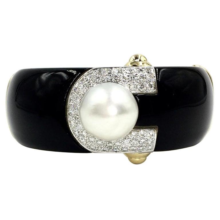 18 Karat Onyx, Diamond and South Sea Pearl Wide Bangle Bracelet