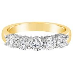 2.28 Carat Total Five-Stone Diamond Wedding Band