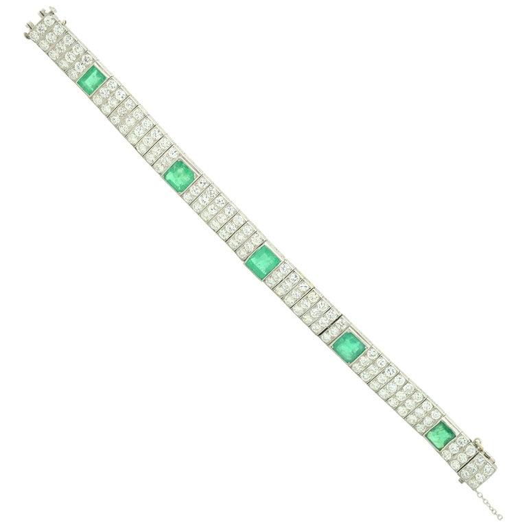 Oscar Heyman Diamond and Emerald Art Deco Platinum Bracelet