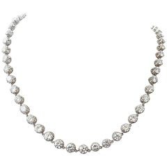 23.80 Carat Diamond Platinum Rivere Necklace