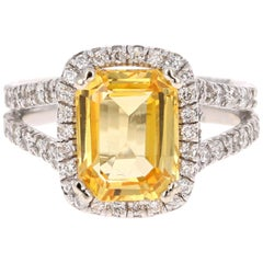 6.51 Carat GIA Certified Yellow Sapphire and Diamond 14 Karat Yellow Gold Ring