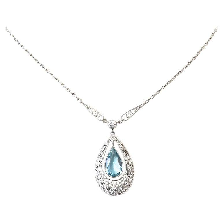 Aquamarine Diamond Platinum Necklace