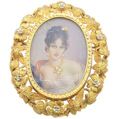Solid 18 Karat Gold Hand-Painted Lady Portrait Brooch with Natural Diamonds 16g