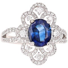 2.78 Carat GIA Certified Sapphire Diamond 18 Karat White Gold Ring