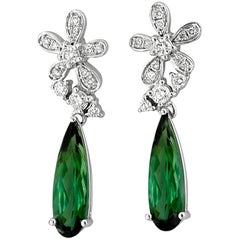 Green Tourmaline Diamond and White Gold Drop Earrings