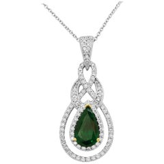 Emerald Pear White Diamond Halo Two-Color Gold Pendant Necklace