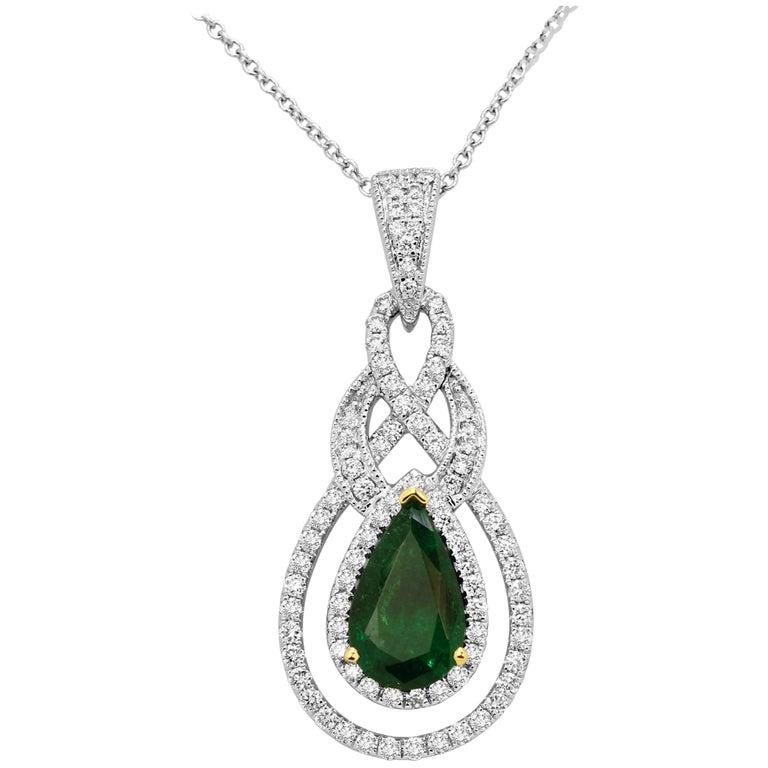 Emerald Pear White Diamond Halo Two-Color Gold Pendant Necklace