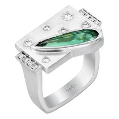 Yael Designs Green Tourmaline Diamond and White Gold Ring