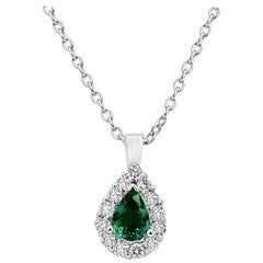 Alexandrite Pear White Diamond Halo Gold Pendant Necklace