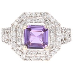 2.59 Carat GIA Certified Purple Sapphire Diamond 14 Karat White Gold Ring
