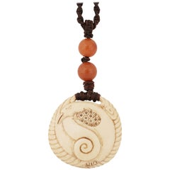 """Rare Eugénie O'Kin Sculpted Ivory Brass and Amber Pearls """"Swan"""" Pendant"""
