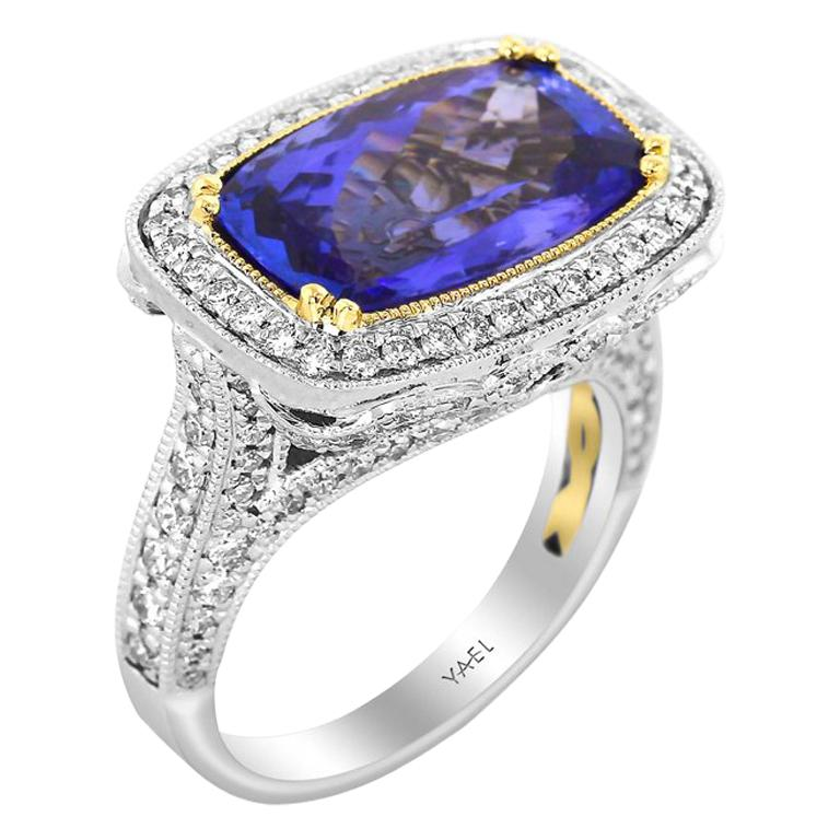 GIA Certified Tanzanite Diamond White and Yellow Gold Ring