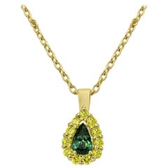 Alexandrite Pear Natural Fancy Yellow Diamond Halo Gold Pendant Necklace
