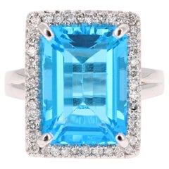 10.59 Carat Blue Topaz Diamond 14 Karat White Gold Cocktail Ring