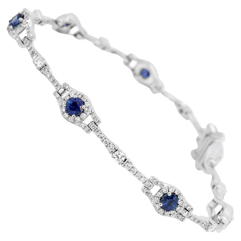 Blue Sapphire Round Diamond Halo Gold Bracelet