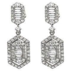 1.20 Carat Baguette Diamond Earrings