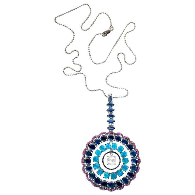 Natural Blue Sapphire, Apatite, Pink Sapphire and Diamond Veronica Necklace