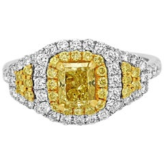 Certified Natural Fancy Yellow Cushion Diamond Double Halo Two-Color Gold Ring