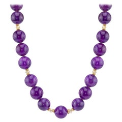 Amethyst Beads with Citrine and 14 Karat Gold Spacers Necklace